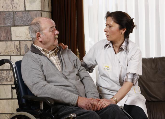 Patiënt in rolstoel